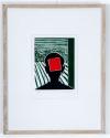 Roger Raveel Kop met rood vierkant