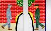 Roger Raveel Twee mannen voor rode bakstenen muur (tweeluik)