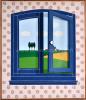 Blauw-venstertje-met-openstaand-raampje