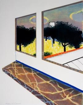 Raveel Roger - Doorkijk met marmeren vensterbank