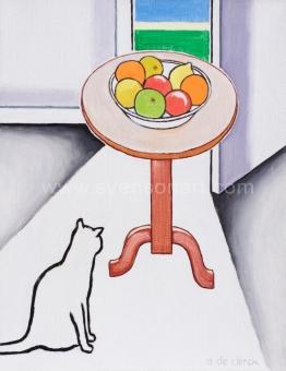 De Clerck Antoon - Interieur met vruchtenschaal en kat