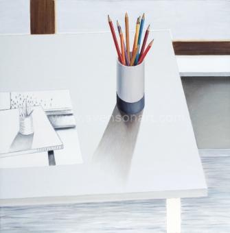 De Clerck Antoon - Schilderij van een tekening naar mijn potloden