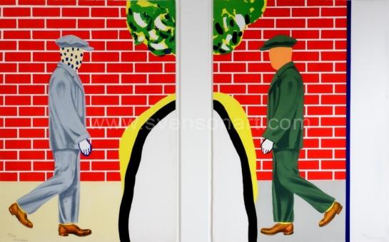 Raveel Roger - Twee mannen voor rode bakstenen muur (tweeluik)