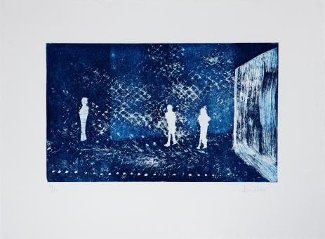 - Figures in blue room