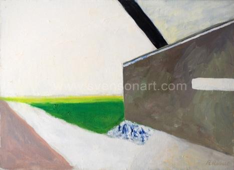 Raveel Roger - Een grijze muur in een landschap