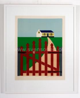 Willaert Joseph - Rood hekken met huisje in achtergrond