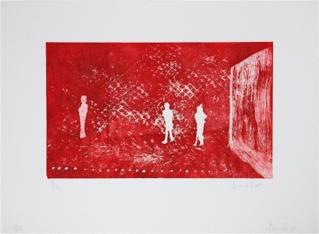 - Figures in red room