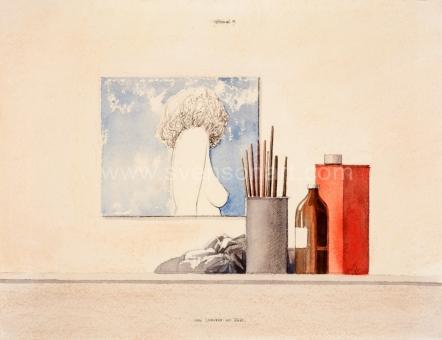 Wittevrongel Roger - Stilleven met naaktschilderij in atelier