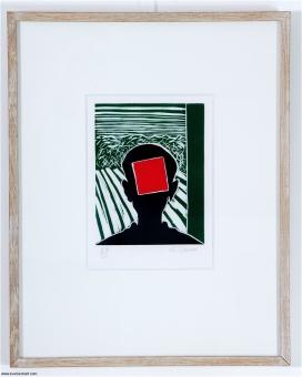 Raveel Roger - Kop met rood vierkant